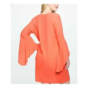 Coral Eloquii Flowing V-Neck Bell Sleeve Dress